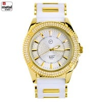 Jewelry Kay style Men's Iced Out 14K Gold Plated Silicone Band Techno Pave Watches WR 8361 GWH