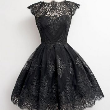 Simple A-line Lace Short Black Homecoming Dresses