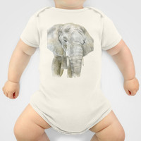 Elephant Watercolor Painting - African Animal Baby Clothes by Susan Windsor