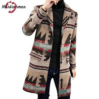 Peacoat Real Full 2017 New Chinese National Style Men Long Wool Coat Abrigo Hombre Pea Coats Male Overcoat Winter Jacket Man