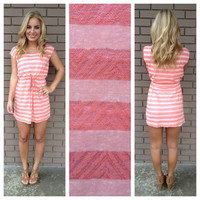 Coral Stripe Drawstring Bikini Dress