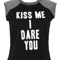"""""""KISS ME I DARE YOU"""" Cropped Top"""
