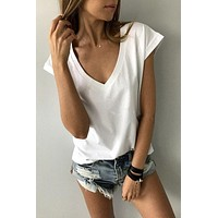 fhotwinter19 Hot sale V-neck simple color sleeveless T-shirt