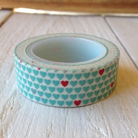 Turquoise and Red Tiny Heart Washi Tape