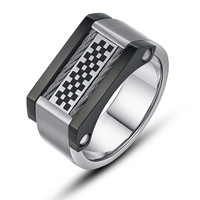Stainless Steel Checker Pattern and Cable Chain Ring