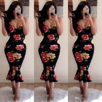 Women Sexy Clothing Summer Casual Flora Printed Bodycon Dresses Female V Neck Mini Dressess Free Shipping
