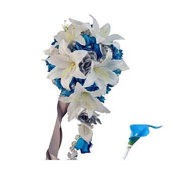 Metallic Silver, White, and Malibu Turquoise Cascade Bouquet and Boutonniere Set