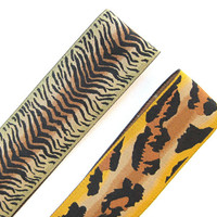 Animal Print Headbands Boho Hair Accessory Stretchy Hairband Tribal Headband Teen Headband Gifts for Her Two Options - Tiger & Leopard