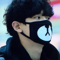 2015 New Arrival Fashion Kpop EXO Chanyeol Same Style Chan yeol Lucky Bear Black Mouth Mask JS0177