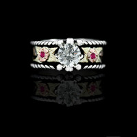 Crystal Rope Ring w/ Ruby Red Accents - Hyo Silver