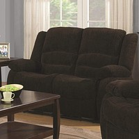 Contemporary Style Chenille Fabric Upholstered Motion Loveseat, Chocolate Brown - 601462