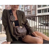 LV old flower female shoulder bag messenger bag three-piece