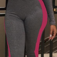 Front Zipper Stand Collar Patchwork Long Sleeve Sports Jumpsuits