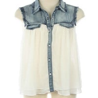 Denim Blouse In White - Bliss Salon and Boutique