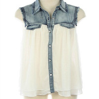 Denim Blouse In White - Bliss Salon and Boutique - A responsive Shopify theme
