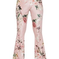 Petite Nude Floral Velvet Flared Trousers