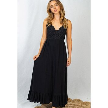 Sweeten The Occasion Black Lace Maxi Dress
