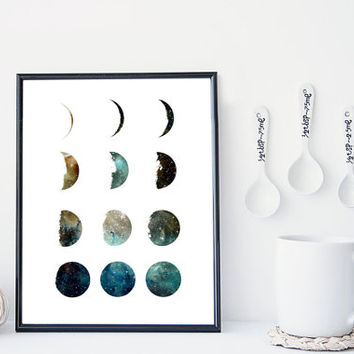 Galaxy moon phase art print, home wall decor, apartment wall art, modern print, nebula print, moon poster, minimal, gift