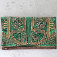 Bead the Best Green Velvet Beaded Clutch