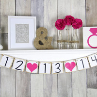 Save The Date Banner - Photo Prop Sign - Save The Date Sign - Bridal Shower Decor - Wedding Date Banner