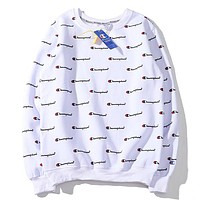 Champion New fashion more letter print long sleeve top sweater White