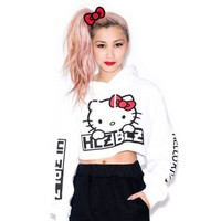 Hellz Bellz x Hello Kitty Cropped Hoodie: White