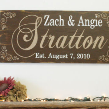 Name Sign Personalized Wall Decor Custom Sign Wedding Gift Bridal Shower Gift Housewarming Gift Anniversary Gift Rustic Wood Sign Handmade