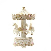 Laxxury 3-Horse Carousel Music Box Brand New Polyresin Material,Pink