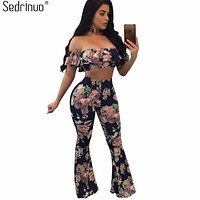 Sedrinuo ruffles off the shoulder printed two piece women rompers jumpsuit crop top and long pants wide leg sexy jumpsuit