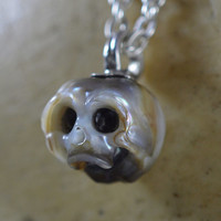 Carved Pearl Skull Necklace - Pearl Skull Jewelry - Handmade Jewelry - Pearl Necklace - Halloween Necklace - Halloween Gift