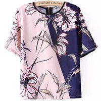 Pink and Blue Floral Print Shirt