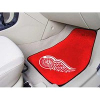 """RED Detroit Red Wings NHL 2-Piece Printed Carpet Car Mats (18""""x27"""")"""