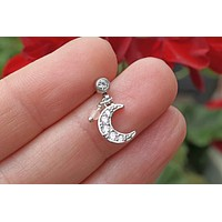 Sparkly Silver Crescent Moon Cartilage Earring Tragus Helix Piercing