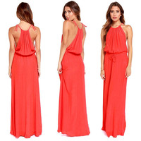 Spring Plus Size  Maxi Dress  Chiffon Strapless Harness Ladies Clothing