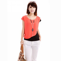 SIMPLE - Woman Round Neck Summer Sexy Top a10702