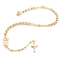 Gold Overlay Rosary Jesus Piece On The Cross Pendant & Open Arms Charm Necklace