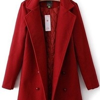 Red Long Sleeve Double Button Quilt Lining Winter Coat