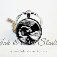 Valentine's Day Gift for Him, Custom Sonogram Keepsake Keychain From Your Sonogram! Ultrasound Keychain, Gift for Husband, Gift for Dad