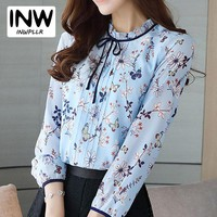 Women's Tops And Blouses 2019 Autumn Chiffon Blouse Women Fashion Floral Print Shirt Casual Long Sleeve Blue Blusas Mujer
