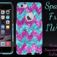 iPhone 6 Case - OtterBox Commuter Series - Retail Packaging - 4.7 iPhone 6 Glitter Large Raspberry Chevron Paradise/Black