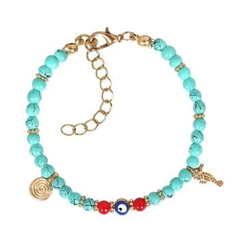 Evil Eye Protection Amulet Simulated Turquoise Red Accents Sea Horse Magical Symbol Charms Bracelet