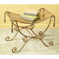 Dr. Livingstone I Presume DLF186GLD Antique Gold Iron Bench with Swag and Tassel Accents