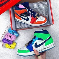 Air Jordan 1 x Melody Ehsani Mid gold watch lace buckle colorblock high-top basketball shoes 1