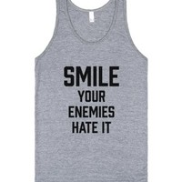 Smile. Your Enemies Hate It.-Unisex Athletic Grey Tank