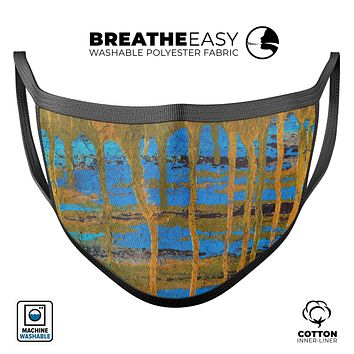 Abstract Gold and Teal Wet Paint - Made in USA Mouth Cover Unisex Anti-Dust Cotton Blend Reusable & Washable Face Mask with Adjustable Sizing for Adult or Child