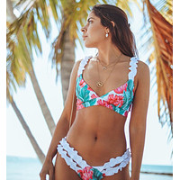 New bikini White  fungus edge strap  split swimsuit two piece suit  lake green leaf pink flower print