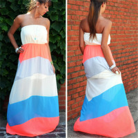Colorful Stripe Maxi Dress