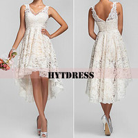 Lace Bridesmaid Dress with Asymmetrical High Low V-neck  Ivory Short front Long back Lace Prom Dress High Low Wedding Dress