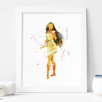 Disney Pocahontas poster Princess Watercolor Art Print nursery Wall decor, Watercolour Print, Disney Princess Poster