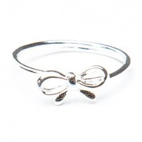 Brandy ♥ Melville    Silver Thin Bow Ring - Jewelry - Accessories
